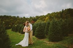 Autumn in the mountains is a perfect time for a wedding, and what better place than on a Christmas tree farm! The lovely Fall colors on the hillsides...