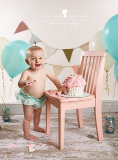 pink white and teal cake smash - Jeneanne Ericsson Photography