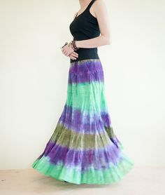 Gypsy Tie Dye Long Skirt Tiered Hippie Skirt by AmazingThaiStore Hippie Skirts, Crinkles, Tie Dye Skirt, Elastic Waist, Gypsy, Summer Outfits, Trending Outfits, Unique, Cotton