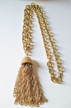 """Vintage Chunky Gold Plated Chain Necklace Textured Tassel of Rope Chain 27""""L #UnsignedChunkyChainwTasselNecklace #ChainChunkyChainTasselRopeChainTassel"""