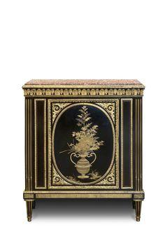 """Bas d'armoire"" by Adam Weisweiler (parisian cabinet-maker), around 1780. The top shelf made in Spain brocatelle. Nissim de Camondo Museum, Paris."