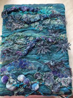 Scrumptious Textiles: City and Guilds final piece mounted Sea Life Art, Sea Art, A Level Textiles, Textiles Sketchbook, Creative Textiles, Art Du Fil, Textiles Techniques, Textile Fiber Art, Water Art
