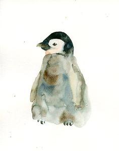 BABY PENGUIN Original watercolor painting 8X10inch by dimdi, $25.00