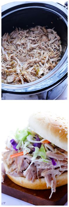 Slow Cooker Apple Cider Pulled Pork -- a great use for leftover apple cider! | gimmesomeoven.com