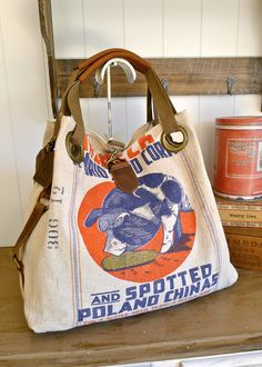 Items similar to Irlbeck Seed Corn - Templeton, Iowa- Vintage Seed Sack  Open Tote -Americana OOAK Canvas   Leather Tote... Selina Vaughan Studios  on Etsy 269a88de0a
