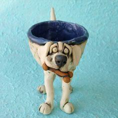 White Labrador Retriever Ceramic Bowl Sculpture by RudkinStudio