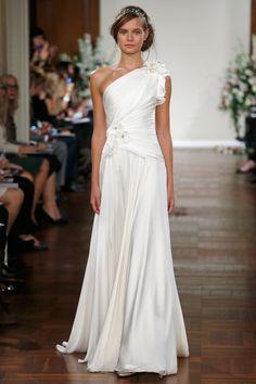 Jenny Packham – Bridal Fall 2013    TAGS:One-Shoulder, White, Ivory, Jenny Packham, Satin, Silk, Modern, Romantic