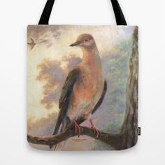 Passenger Pigeon - Martha Finds Her Flock Tote Bag by PenguinArt, Kate Garchinsky