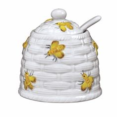 Yellow Honey Bee - Sugar Honey Pot Honey Bee Tea Pot - by Sadek
