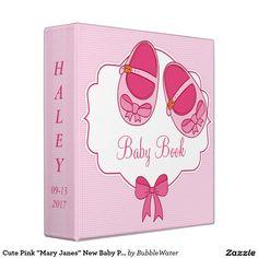"Cute Pink ""Mary Janes"" New Baby Photo Album Binder"