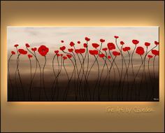 Red Flowers Original Abstract Art Painting by by carmenguedez, $750.00