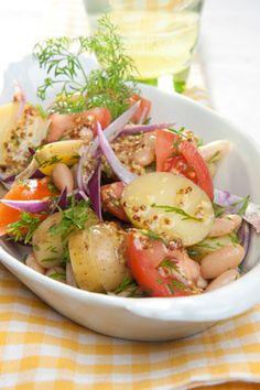 Kartoffelsalat Kartoffelsalat med bønner, dild og velsmagende dressing fra Familie Journals Slankeklub