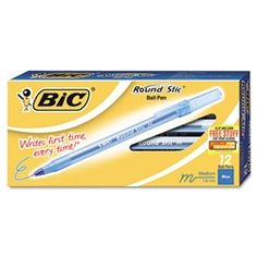 $1.14 1 Dozen Blue Flexible round barrel for writing comfort Bic Pens