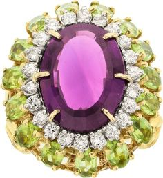 Amethyst, Diamond, Peridot, Gold Ring.