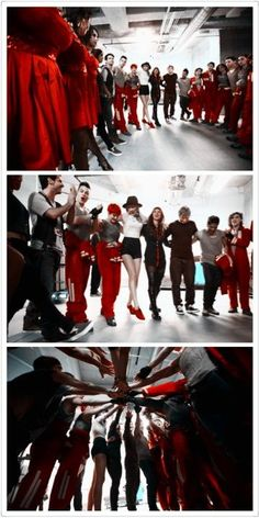 I think it is funny how everyone is in costumes, dressed in red and there is Ed in a tshirt and jeans!