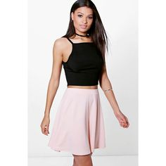 Boohoo Night Adana Full Soft Crepe Skater Skirt ($14) ❤ liked on Polyvore featuring skirts, nude, pleated skirt, white circle skirt, flared skirt, midi circle skirt and midi skirt