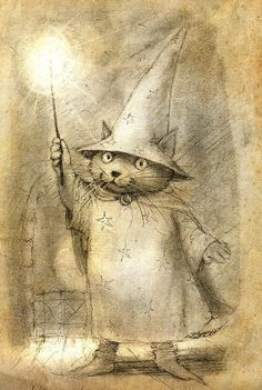 A sweet little cat wizard. I think he has big dreams ~ by Petra Brown