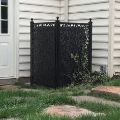 Build elegant looking screens around porches and decks by using this Black Ginger Dove Vinyl Decor Panel from Acurio Latticeworks. Front Yard Landscaping, Backyard Patio, Landscaping Ideas, Apartment Backyard, Home Depot, Hide Trash Cans, Decorative Screen Panels, Privacy Screen Outdoor, Vinyl Decor
