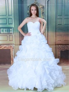 Ball Gown Sweetheart Ruffle Brush Train Thick Organza Wedding Dress (ELE8902)