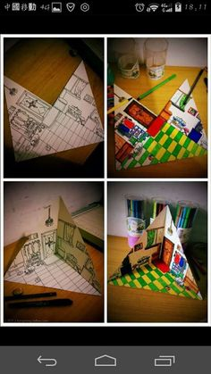 A corner of the house child's drawing-- # Children's drawing # 屋 一角 Source by Club D'art, Art Club, Middle School Art Projects, High School Art, Classe D'art, 3d Templates, 8th Grade Art, Ecole Art, Art Lessons Elementary