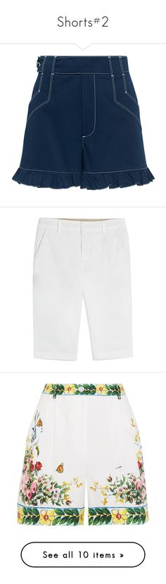 """""""Shorts#2"""" by kikikoji ❤ liked on Polyvore featuring shorts, skirts, highwaist shorts, high-waisted shorts, high waisted shorts, ruffle trim shorts, short shorts, white, white cotton shorts and vince shorts"""