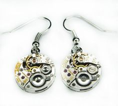 Steampunk Earrings  Vintage Silver Circular LONGINES by Junk2Punk, $46.00