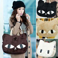 Women Girls Cute Handbag Cat Print Fashion Winter Shopper School Tote Bag Xmas in Clothing, Shoes Accessories,Womens Handbags Bags,Handbags Purses Tote Bags For School, Cute Handbags, Women's Handbags, Cat Bag, Cat Accessories, Satchel Purse, Shopper Tote, Cute Korean, Cat Pattern