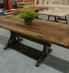 Walnut Dutch trestle table with a matching set up company boards. Made in Providence, RI by Lorimer Workshop. Dining Table, Trestle Tables, Pallet Projects, Diy Furniture, Dutch, Workshop, Boards, Kitchen, Matching Set