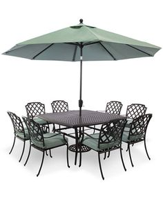"Garden Furniture Nottingham park gate outdoor cast aluminum 7-pc. dining set (68"" x 38"" dining"