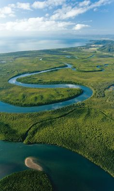A beautiful aerial view of Daintree National Park, Tropical North Queensland, Australia For more travel updates be connected to Travel Universally Queensland Australia, Western Australia, Australia Travel, Australia Visa, Daintree Rainforest, Amazon Rainforest, All Nature, Amazing Nature, Seen