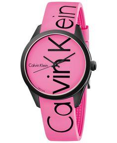 Calvin Klein Men's Color Pink Silicone Strap Watch 40mm K5E51TZP