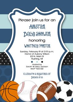 Mod Allstar Sports Theme Baby Shower or Birthday Party Invitation - PRINTABLE INVITATION DESIGN. $12.50, via Etsy.