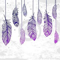 Illustration about Beautiful illustration of feathers can be used as a greeting card. Illustration of dreams, pillow, indian - 37686442 Feather Drawing, Feather Art, Feather Tattoos, Zentangle, Drawing Sketches, Art Drawings, Drawing Ideas, Tattoo Diy, Image Tumblr