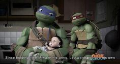 Leonardo holding little Karai/Miwa, along with Raphael. Looks like little Karai/Miwa really likes Leonardo. Tmnt 2012, Turtle Facts, Tmnt Leo, Leonardo Tmnt, Teenager, Teenage Mutant Ninja Turtles, Pokemon Cards, Anime, Super Smash Bros