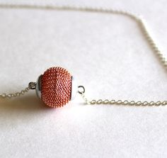 Metal mesh necklace bead in orange by Bunnys on Etsy, $16.00
