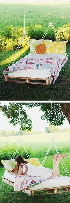 Pallet bed hanging from a tree....nice!