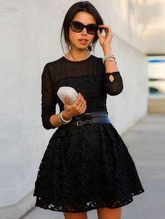Black Floral Embroidery Skate Dress