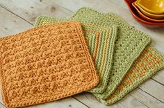 We continue our fun month of kitchen patterns with this simple crochet dishcloth pattern. If you missed it, you can click here to see last week's pattern. This week's pattern uses three colors. Of course you could do it all in one color, but I love the bright and cheery effect that the different colors make.
