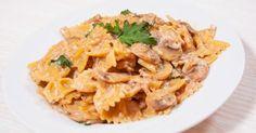Recette de Farfalles onctueuses à la sauce aux champignons allégée. Facile et rapide à réaliser, goûteuse et diététique.