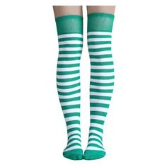 White/Green Striped Thigh Highs ❤ liked on Polyvore featuring intimates, hosiery and socks
