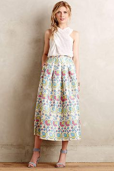 Cross-Stitched Midi Skirt - anthropologie.com