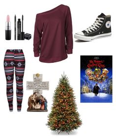 """""""Christmas Eve"""" by bobthechob ❤ liked on Polyvore featuring WithChic, Converse, MAC Cosmetics, Rodial and Napco"""