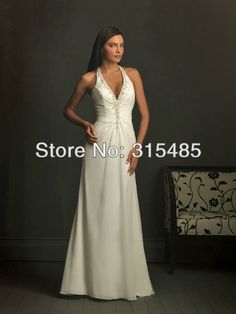 AL0014 Sexy  Beaded Backless Halter A line Wedding Dress-in Wedding Dresses from Apparel & Accessories on Aliexpress.com $172.00