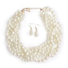 A high polish pearl necklace set in a braided thick design. Multi Strand Pearl Necklace, Pearl Choker Necklace, White Necklace, Collar Necklace, Earrings, Pearl Set, Pearl White, Gold Material, Fashion Jewelry