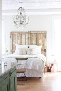 rustic door headboard  http://dreamywhites.blogspot.com/ eclectic bedroom