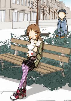 """Nicolas Hitori De """" Girl on Bench """" Represented by Sylvie Poggio Artists agency.    http://sylviepoggio.com/wp/portfolios/nicolas-hitori-de-illustration-portfolio-2-2/"""