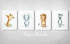 Set of 4 Safari Animals Prints - Animal Nursery Wall Set - Giraffe, Elephant, Lion, Zebra - Nursery Art - Safari theme - Children's Art by AnnaAbramskaya on Etsy