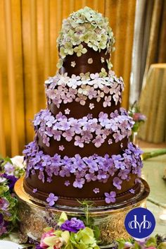 Sugar hydrangeas decorate this chocolate fondant cake
