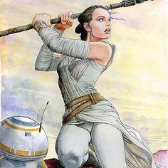 Rey by Manara. Haven't seen Star Wars yet...   regram @milomanara_official #starwars #ray #milomanara #manara #illustration #daisyridley