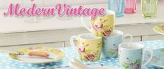 Modern vintage...pretty floral pastel mugs & dishes
